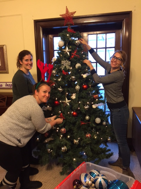 CRH employees christmas tree decorating at the Armagh House